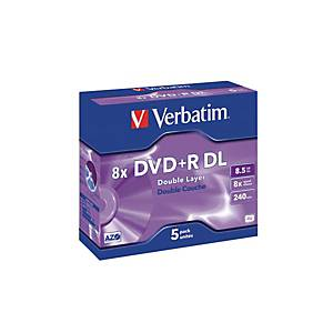 VERBATIM DVD+R Jewel 8.5GB 43541 8x DL Matt Silver, emballage de 5 Pcs