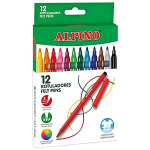 Pack 12 rotuladores ALPINO Standard colores surtidos