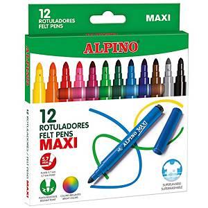 Caixa de 12 marcadores maxi ALPINO stand