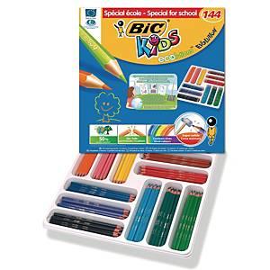 Bic® Kids Evolution kleurpotloden, assorti kleuren, klaspak van 144 potloden