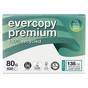 Recyklovaný papier Evercopy Premium, A4 80 g/m², biely, 5 x 500 list
