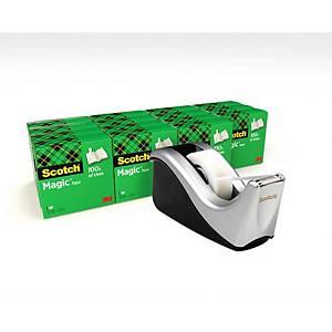 Pack 16 rolos de fita adesiva invisível Scotch Magic + dispensador