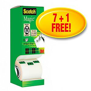 Ruban adhésif Scotch Magic 810, 19 mm x 33 m, inscript., 7 + 1 grat., 8 unit.