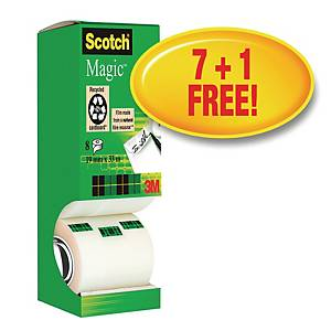 Tape Scotch Magic 810, 19 mm x 33 m, pakke a 8 ruller + 1 gratis