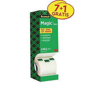 Ruban adhésif Scotch® Magic™ 810 invisible, 19mmx33m, pack avantage 7+1 GRATUIT