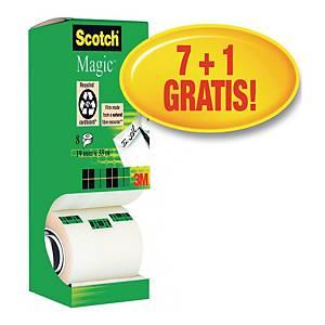Taśma klejąca SCOTCH 810 Magic matowa, 19 mm x 33 m, zestaw 7 rolek + 1 rolka