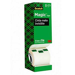 Pack 8 rolos de fita adesiva invisível Scotch Magic - 19 mm x 33 m