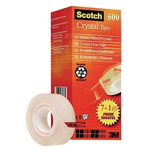 Ruban adhésif Scotch 600, 19 mm x 33 m, 7+1, paq. 8unités