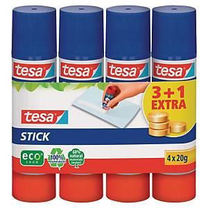 Tesa Easystick lijmstift, permanent klevende lijm, 20g, 3 + 1 gratis