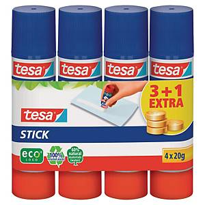 Tesa Easystick glue stick 20g - pack of 4 from which 1 stick for free