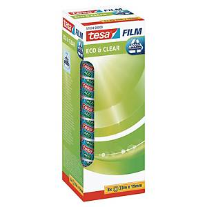 Tesa Eco&Clear transparant tape 19mmx33 m - value pack 7+1 free