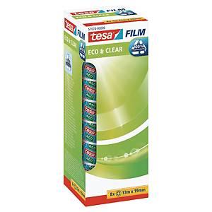 Tape Tesa ECO&CLEAR, 19 mm x 33 m, pakke à 7 ruller + 1 gratis
