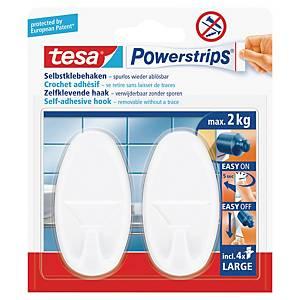 Powerstrips Tesa oval, bildekrok, hvit, pakke à 2 strips