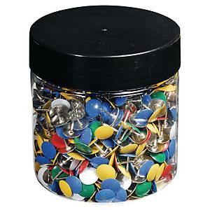 Plastic drawing pins 7mm assorti - box of 1000