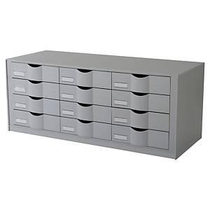 Schubladenelement Paperflow 9H444L2.02, 12 Schubladen für A4+ Dokumente, grau
