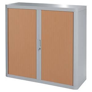 Armoire à rideaux basse Paperflow easyOffice, H 104 cm, grise/hêtre