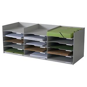Trieur de bureau Paperflow horizontal avec 15 compartiments empilables - gris