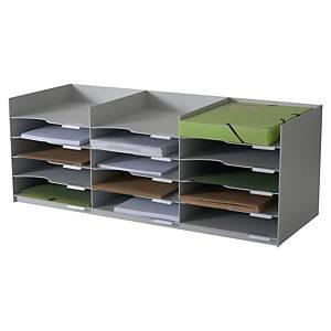 Módulo organizador Paperflow - 15 compartimentos - cinzento