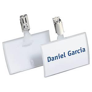Porte-nom Durable Click Fold 8216, 54 x 90 mm, avec clip, paq. 25unit.