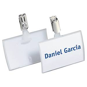 Durable Click Fold Name Badge With Clip 54X90mm Transparent- Pack of 25