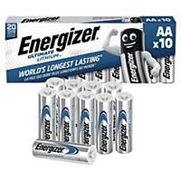 Piles Energizer Lithium AA, L91/FR6, paq. 10unités