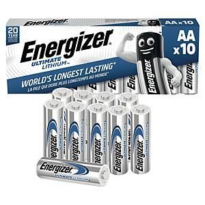 Batterier Energizer Ultimate Lithium AA, 1,5V, pakke à 10 stk.