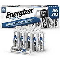 Batterier Energizer Ultimate Lithium AA, 1,5 V, förp. med 10 st.