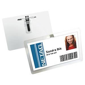 Navneskilt Durable, selvlaminerende med nål og klemme, pakke à 25 stk.