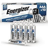 Batterier Energizer Ultimate Lithium AAA, 1,5V, pakke à 10 stk.