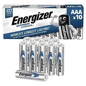 Batterier Energizer Ultimate Lithium AAA, 1,5 V, förp. med 10 st.