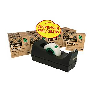 Scotch® Magic™ Tape A Greener Choice 19 mm x 33 m, 14 rollen + GRATIS dispenser