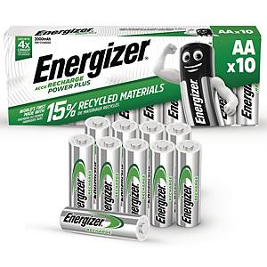 Genopladelige batterier Energizer NIMH AA, pakke a 10 stk.