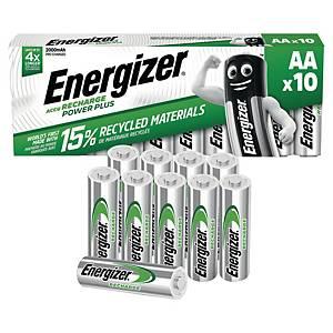 Oppladbare batterier Energizer NIMH AA, pakke à 10 stk.
