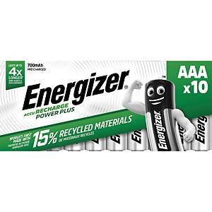 Energizer a batteria ricaricabile AAA, HR03/E92/AM4/Micro, 10 pzi