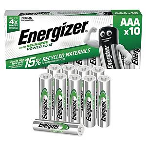 Pile rechargeable Energizer RC03/AAA Power Plus, 700 mAh, les 10 piles