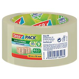 Tesapack® ecologische PP tape, transparant, 50 mm x 66 m, per rol tape