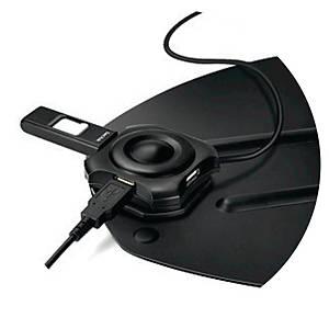 Station métal ordinateur portable Fellowes Professional Series, hub USBx4, noir
