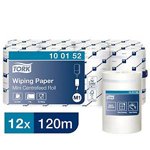 Tork White M1 Mini Centrefeed 1 Ply Wiping Paper Roll 120M - Pack of 12