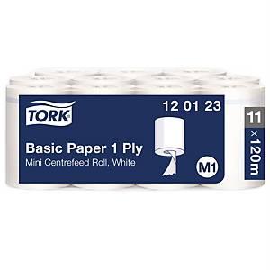 Tork Wiper Basic Mini poetsdoek, 1-laags, wit, niet voorgesneden, per 11 rollen