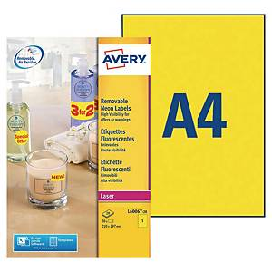 Avery L6006 neon labels 210x297mm yellow - box of 20