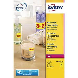 Avery L6006 fluorescerende etiketten, geel, 210 x 297 mm, doos van 20