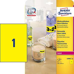 AVERY L6006 HIGH VISIBILITY & PROMOTIONAL LABELS A4 FLUORESCENT YELLOW-BOX OF 20