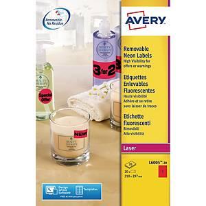 Étiquettes fluorescentes Avery L6005, rouges, 210 x 297 mm, les 20