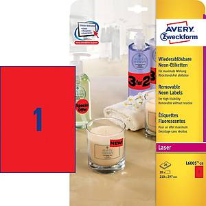 AVERY LABELS A4 FLUORESCENT RED - BOX OF 20