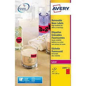 Etykiety neonowe AVERY ZWECKFORM 210x297 mm, czerwone, usuwalne, 20 etykiet