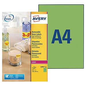 Avery L6007 neon labels 210x297mm green - box of 20