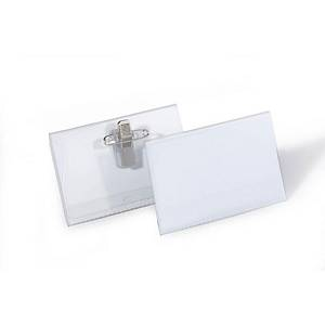 Durable Name Badge With Combi Clip 54X90mm Transparent - Pack of 50
