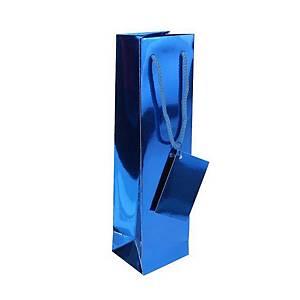 Papírová taška na víno 10 x 8,5 x 36 cm, modrá