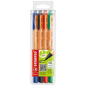 Liner Stabilo Greenpoint, priemer hrotu 0,8 mm, mix 4 farieb