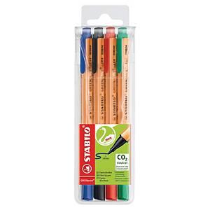 Fiberpenna Stabilo GreenPoint, utvalda färger, förp. med 4st.
